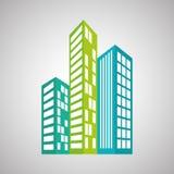 Diseño de las propiedades inmobiliarias, edificio y concepto de la ciudad, vector editable Fotografía de archivo