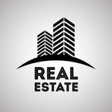 Diseño de las propiedades inmobiliarias, edificio y concepto de la ciudad, vector editable Foto de archivo