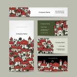 Diseño de las tarjetas de visita, bosquejo del paisaje urbano Imagen de archivo libre de regalías