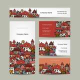 Diseño de las tarjetas de visita, bosquejo del paisaje urbano Imagenes de archivo