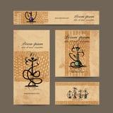 Diseño de las tarjetas de visita con bosquejo de la cachimba Fotos de archivo