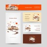 Diseño de las tarjetas de visita con bosquejo retro de la casa Fotografía de archivo