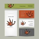 Diseño de las tarjetas de visita con el erizo divertido Imagen de archivo libre de regalías