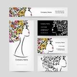 Diseño de las tarjetas de visita con la cabeza floral femenina Fotografía de archivo