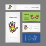 Diseño de las tarjetas de visita con la mano, masaje Fotos de archivo libres de regalías