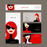Diseño de las tarjetas de visita con las caras de las mujeres Fotografía de archivo