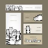 Diseño de las tarjetas de visita corporativa con rayado divertido Fotografía de archivo libre de regalías
