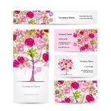 Diseño de las tarjetas de visita, estilo floral rosado Fotografía de archivo libre de regalías