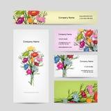 Diseño de las tarjetas de visita, ramo floral Foto de archivo libre de regalías
