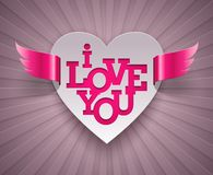 Diseño de las tarjetas del día de San Valentín con el corazón con alas Imágenes de archivo libres de regalías