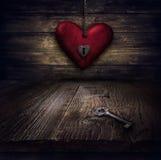 Diseño de las tarjetas del día de San Valentín - corazón en encadenamientos Fotografía de archivo libre de regalías