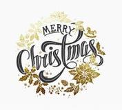 Diseño de letras caligráfico de la Feliz Navidad Imágenes de archivo libres de regalías