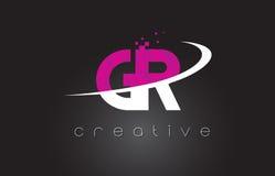 Diseño de letras creativo de GR G R con los colores rosados blancos Imagen de archivo