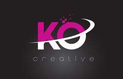 Diseño de letras creativo del knock-out K O con los colores rosados blancos libre illustration