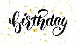 Diseño de letras del cumpleaños para las tarjetas o la invitación de felicitación Caligrafía del cumpleaños y confeti del vuelo d Fotografía de archivo libre de regalías