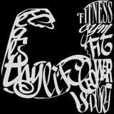 Diseño de letras del gimnasio sobre vector negro del fondo Imagenes de archivo