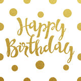 Diseño de letras del oro para el feliz cumpleaños de la tarjeta Imagenes de archivo