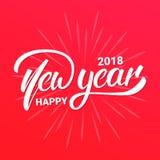 Diseño de letras del texto de la Feliz Año Nuevo 2018 Tipografía del saludo de la Navidad y del Año Nuevo Fotografía de archivo