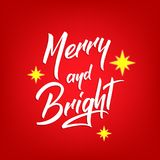 Diseño de letras del texto de la Navidad Tarjeta con cita feliz y brillante de la caligrafía y las estrellas de la Navidad Fotos de archivo