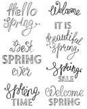 Diseño de letras exhausto de la mano de la primavera libre illustration