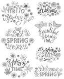 Diseño de letras exhausto de la mano de la primavera con los elementos decorativos florales ilustración del vector