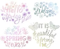 Diseño de letras exhausto de la mano de la primavera con los elementos y las mariposas decorativos florales stock de ilustración