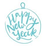 Diseño de letras de la tarjeta del día de fiesta Feliz Año Nuevo Imagen de archivo libre de regalías