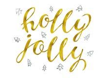 Diseño de letras moderno elegante alegre del cepillo del oro y de la plata del acebo que brilla en un ejemplo del rastr del fondo Fotografía de archivo