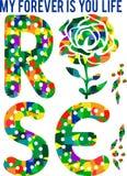 Diseño de los colores de la tipografía de Rose Fotos de archivo libres de regalías