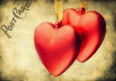 Diseño de los corazones de la vendimia de la tarjeta del día de San Valentín Fotos de archivo