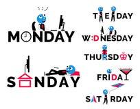Diseño de los días de la semana Fotos de archivo libres de regalías