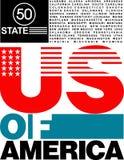 diseño de los 50 E.E.U.U. del estado de camiseta stock de ilustración