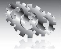 Diseño de los engranajes sobre el ejemplo gris del fondo Imágenes de archivo libres de regalías