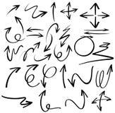 Diseño de los garabatos para las flechas negras stock de ilustración