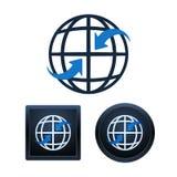 Diseño de los iconos de la comunicación global, ejemplos aislados Fotografía de archivo