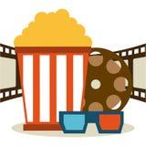 Diseño de los iconos del cine Imagenes de archivo