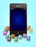 Diseño de los usos de Smartphone Imagenes de archivo