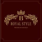 Diseño de lujo del monograma floral, plantilla agraciada Logotipo hermoso elegante caligráfico Ponga letras a la muestra B para l libre illustration