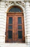 Diseño de madera antiguo de la puerta Fotografía de archivo