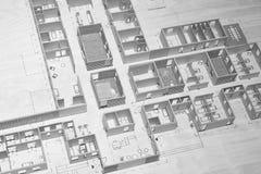 Diseño de maternidad del proyecto modelo del piso del hospital Parte posterior de la arquitectura imagen de archivo