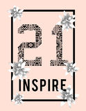 Diseño de moda de la camiseta con el número 21 Fotos de archivo libres de regalías