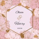 Diseño de moda del vector de la flor Peonía en colores pastel con el fondo de oro de las flores EPS10 fotos de archivo libres de regalías
