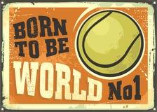 Diseño de motivación del cartel con la pelota de tenis y la cita inspirada ilustración del vector