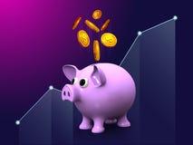 Diseño de oro de ahorro del márketing 3d de la gestión de inversión empresarial de la moneda del dólar de la hucha del dinero en  ilustración del vector