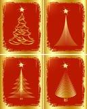 Diseño de oro del árbol de navidad. Fotografía de archivo