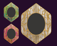 Diseño de oro del capítulo del vintage del vector con el fondo colorido Imagen de archivo