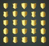Diseño de oro del escudo fijado con diversas formas ilustración del vector