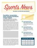 Diseño de página de las noticias de los deportes Fotos de archivo libres de regalías