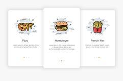 Diseño de pantallas de Onboarding en concepto de los alimentos de preparación rápida Ejemplo moderno y simplificado del vector stock de ilustración