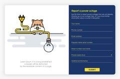 Diseño de pantallas de Onboarding en informe un fallo eléctrico y una forma Ejemplo moderno y simplificado del vector imágenes de archivo libres de regalías